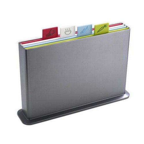 Index skærebræt-sæt stor - plast sølv/multifarver