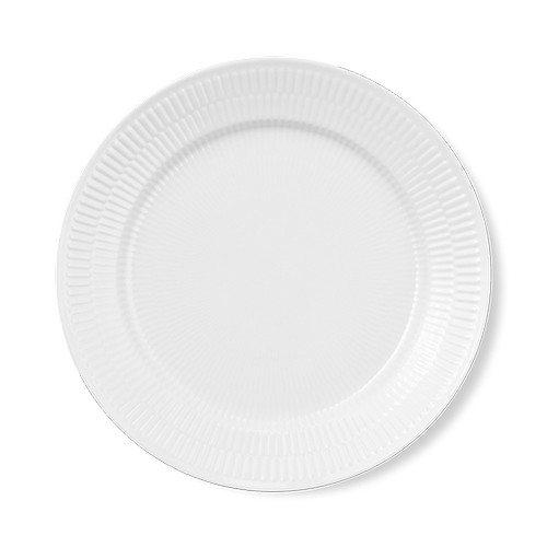 hvid riflet middagstallerken