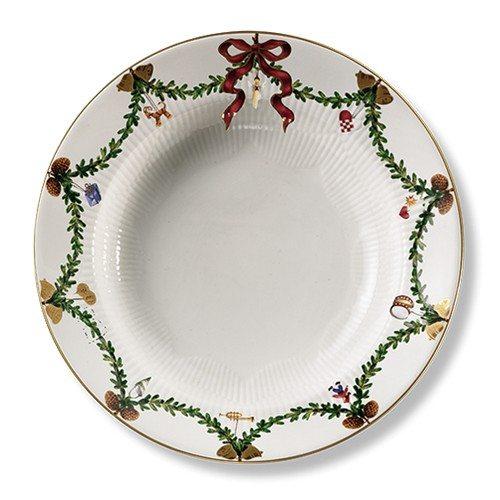 Stjerne riflet jul dyb tallerken 24 cm