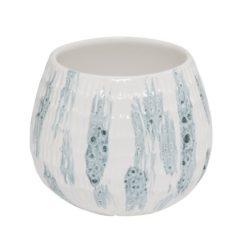 I.C. Lauvring keramik skjuleri hvid med smuk unik blå glasering.