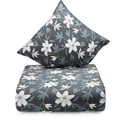 Grå blomstret sengesæt